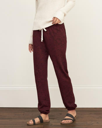Womens A&F Pattern Banded Sweatpants