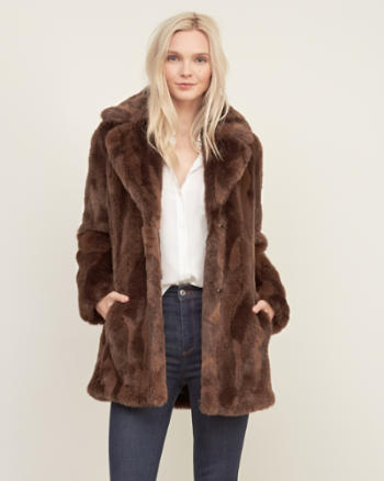 Womens Long Faux Fur Jacket