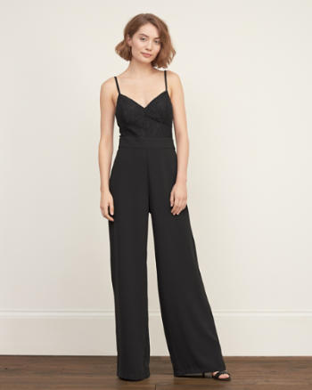 Womens Lace Top Crepe Jumpsuit