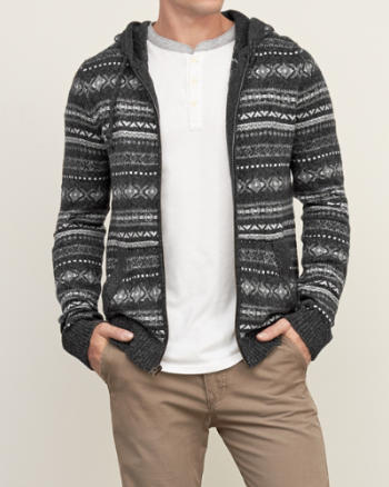 Mens Patterned Sweater Hoodie