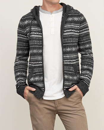 ANF Patterned Sweater Hoodie