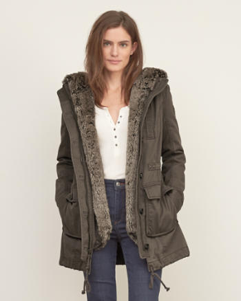 Womens Faux Fur Lined Twill Parka