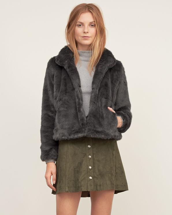Navy 6 Button Fur Coat