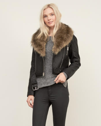 Womens Vegan Leather Moto Jacket
