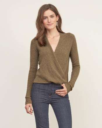 Womens Wrap Front Sweater