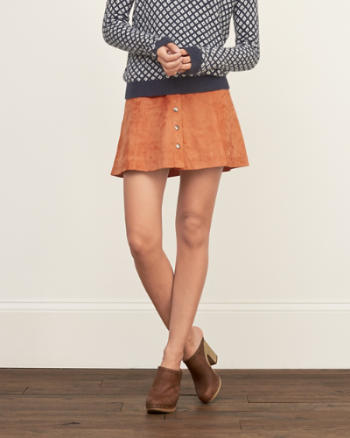 Womens Faux Suede A-line Skirt