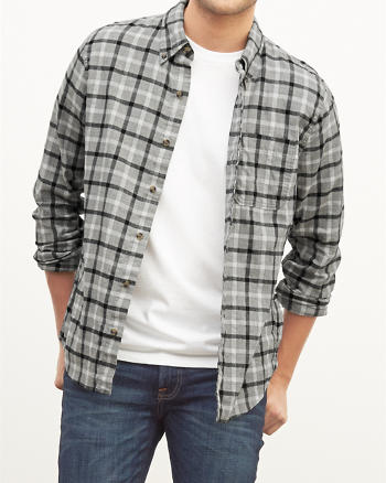ANF Muscle Fit Plaid Twill Shirt