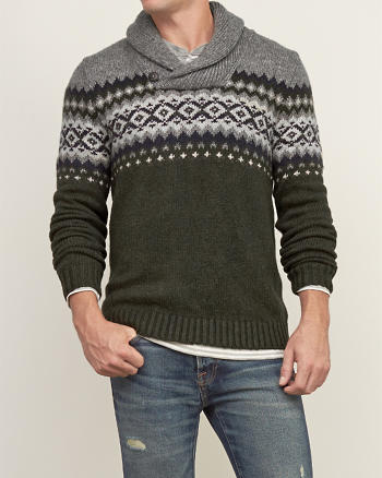 ANF Patterned Shawl Sweater