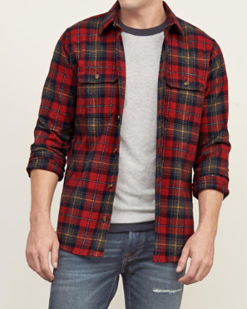 Mens Plaid Elbow-patch Shirt
