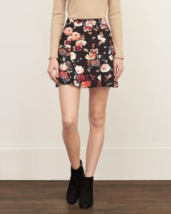 Womens Floral Neoprene Skirt