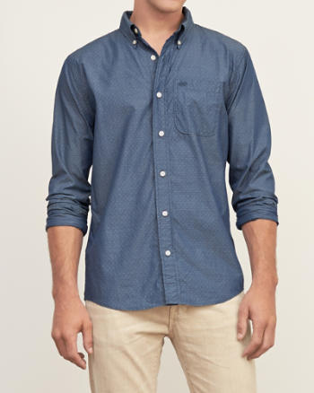 Mens Muscle Fit A&F Dot Print Shirt
