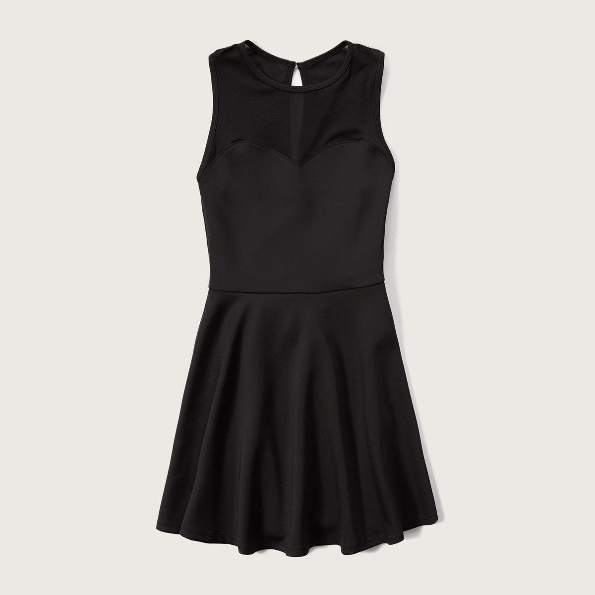 Mesh Yoke Neoprene dress