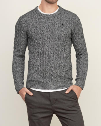 Mens Cable Crew Sweater