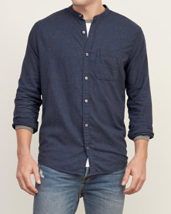 Mens Band-collar Cotton Shirt