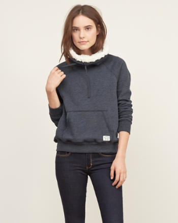 Womens Sherpa-lined Cowl Neck Sweatshirt
