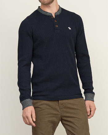 ANF Contrast-trim Waffle Henley