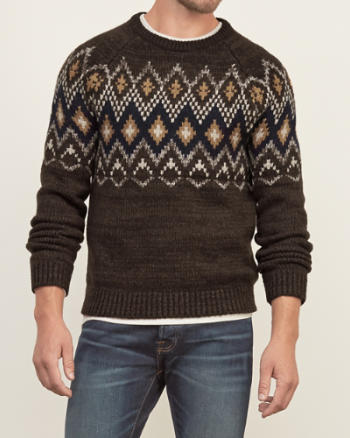 Mens Patterned Crew Sweater