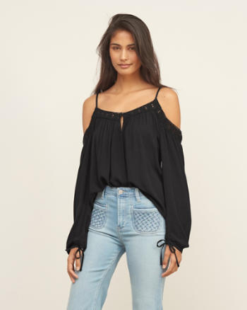 Womens Cold Shoulder Keyhole Top
