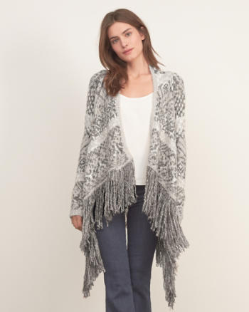 Womens Patterned Fringe Cardigan
