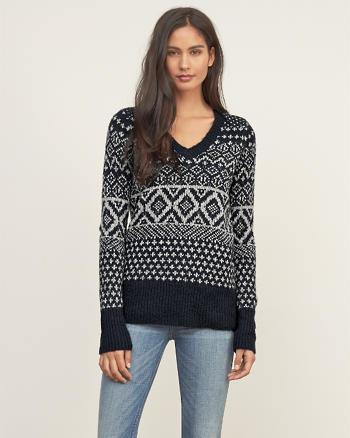 ANF Patterned V-neck Sweater