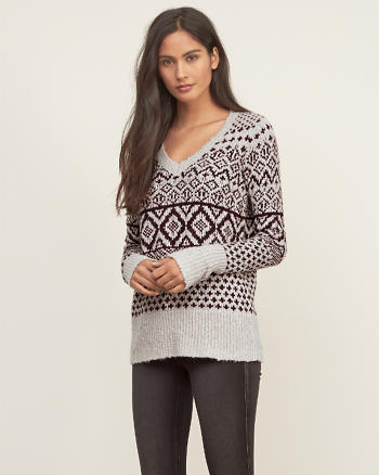 ANF Patterned V-neck Sweater