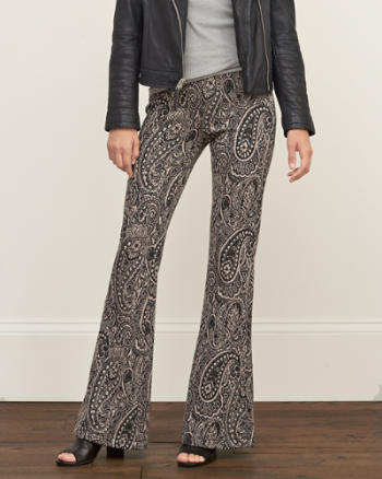 Womens Patterned Flare Pant