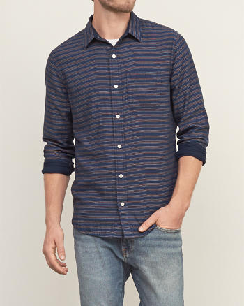 ANF Contrast Stripe Shirt
