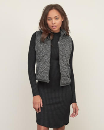 Womens Quilted Fleece Vest
