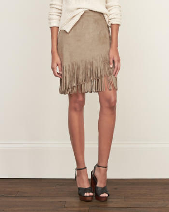 Womens Fringe Faux Suede Skirt