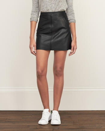 Womens Leather A-line Skirt