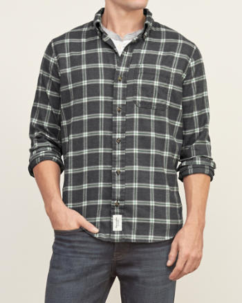 Mens Muscle Fit Plaid Shirt