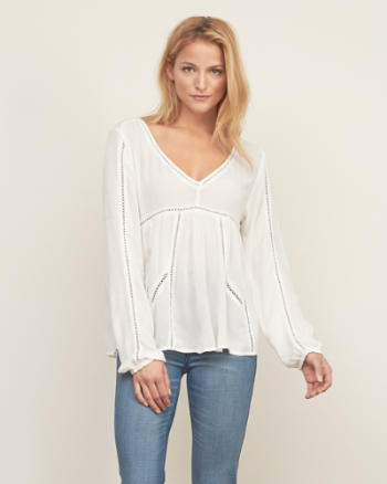 Womens Flowy Peasant Top