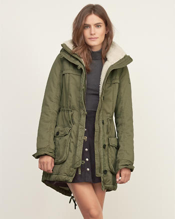ANF A&F Sherpa Lined Twill Parka