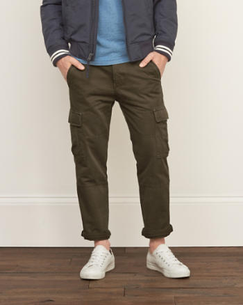 Mens A&F Slim Straight Cargo Chinos