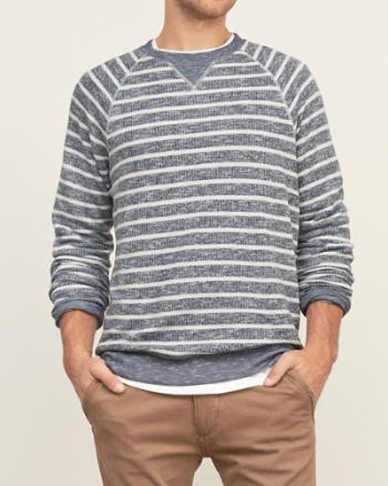 Mens Striped Crew Sweatshirt