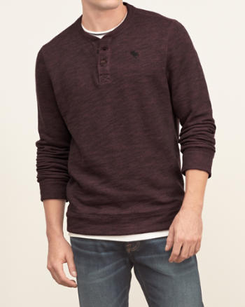 Mens Iconic Textured Henley