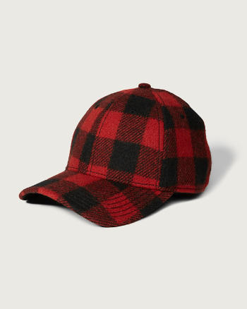 Mens Woolrich Plaid Wool Baseball Cap