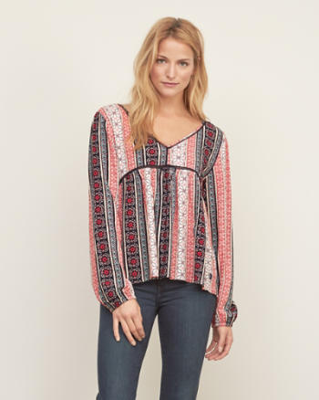 Womens Patterned Peasant Top