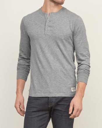 Mens Contrast-placket Knit Henley