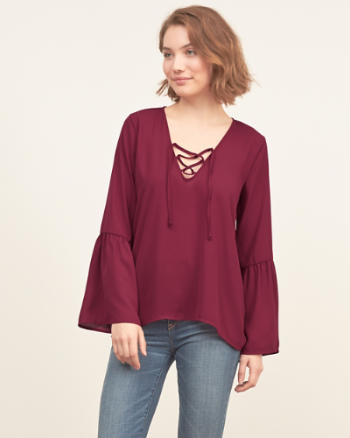 Womens Lace-up Peasant Top