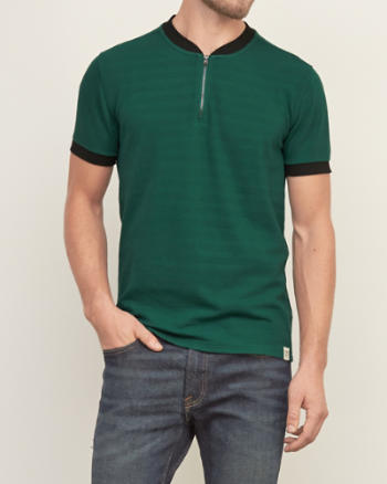 Mens Knit Zip Henley
