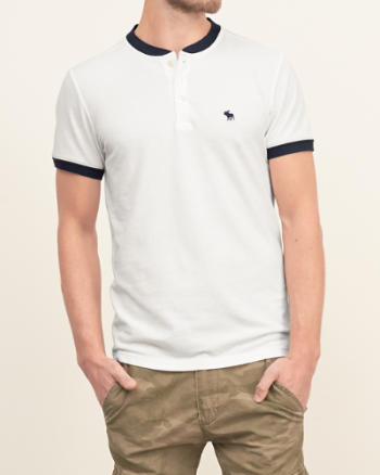 Mens Iconic Contrast Henley