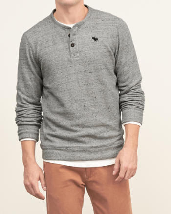 Mens Iconic Fleece Henley