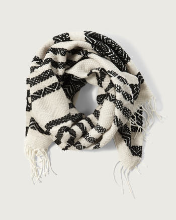Womens Patterned Fringe Scarf