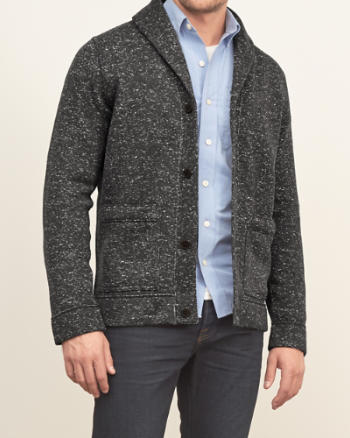 Mens Textured Shawl Cardigan