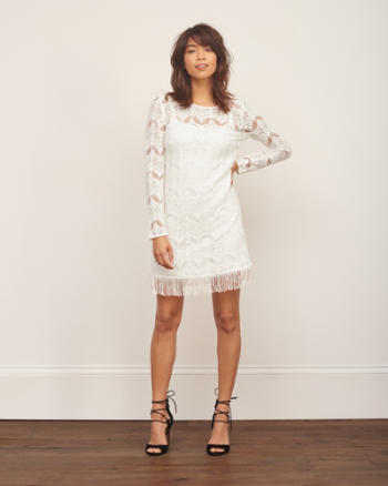 Womens Lace Fringe Dress