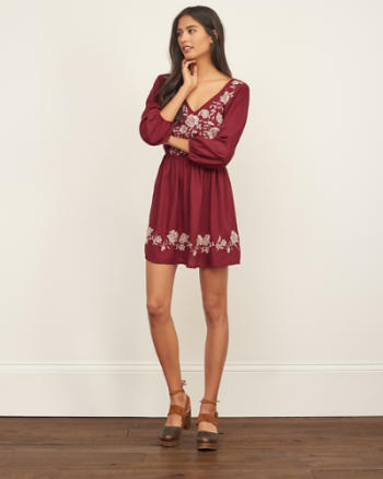 Womens Embroidered Woven Dress