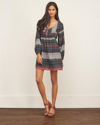 ANF Patterned Crepe Dress