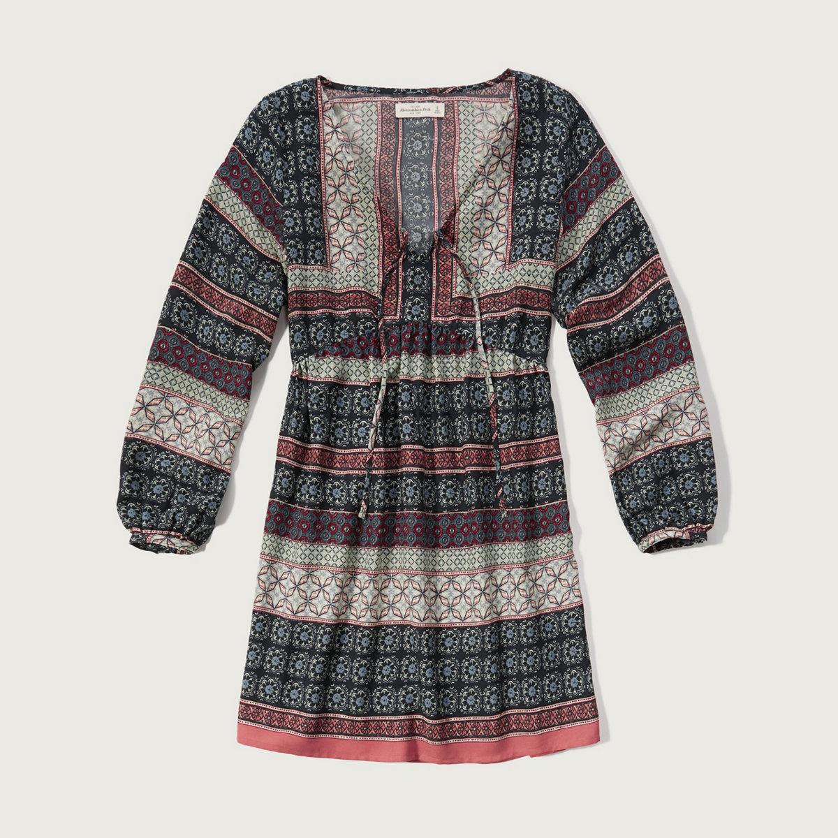 Patterned Crepe Dress