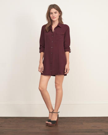 Womens A&F Collection Silk Shirt Dress